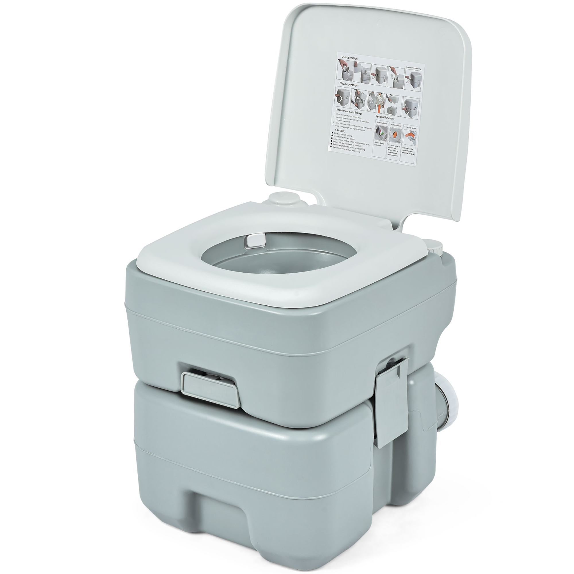 Details about  /Portable 5.3 Gallon 20L Toilet Flush Travel Camping Outdoor Indoor Commode Potty