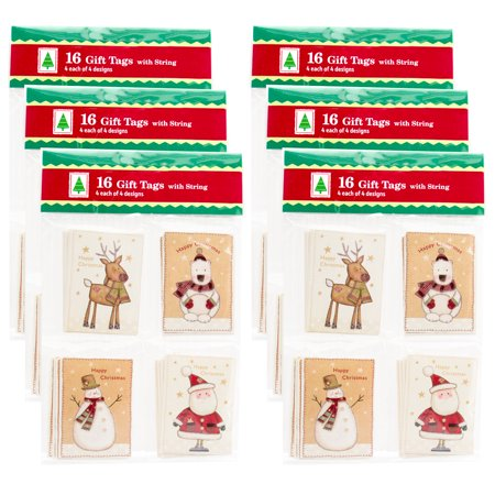 Paper Magic Group Set of 96 Assorted Small Christmas Holiday Gift Tags & String Ties 4 Unique Styles