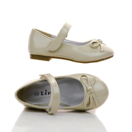 Gloria59KA by Link, Infant Girls Bow Mary Janes Hook And Loop Dress Flats