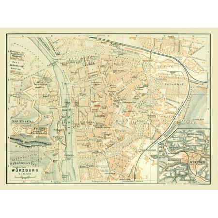 Map Of Germany 1914.International Map Wa Rzburg Germany Baedeker 1914 30 84 X 23