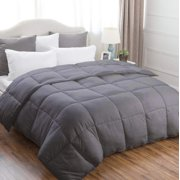 Down Alternative Microfiber Comforter Duvet Insert (Grey, Queen)-All Seasons Multiple Sizes Solid Color Ultra-Soft Premium 1800 Series-Hypoallergenic Wrinkle Resistant-Lux Decor Collection