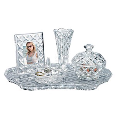 5 Piece 12 Shannon Vanity Dcor Non Leaded Crystal Set With Tray