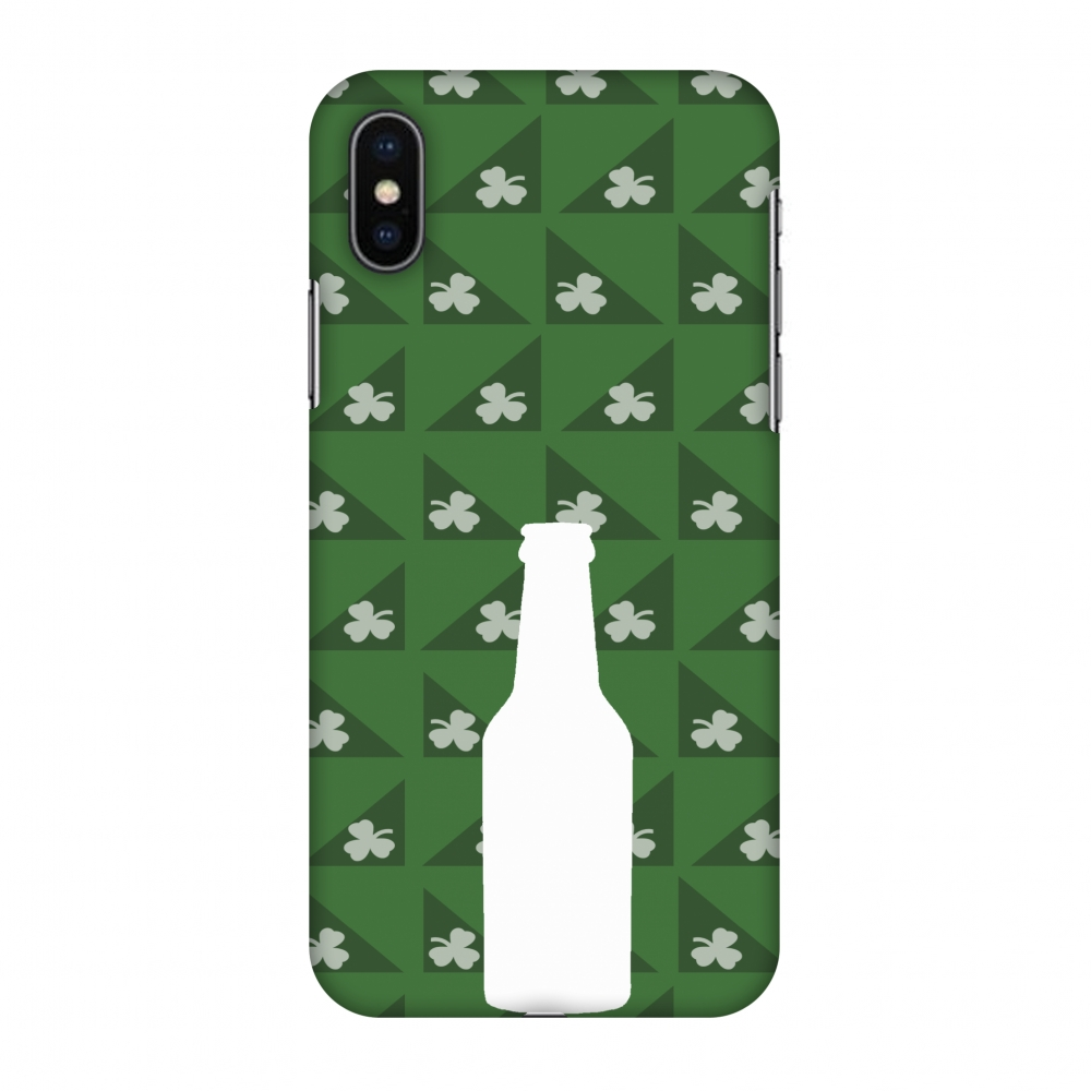 iPhone X Case, Premium Handcrafted Designer Hard Shell Snap On Case Printed Back Cover with Screen Cleaning Kit for iPhone X, Slim, Protective - Beer and pattern with shemrock - Green