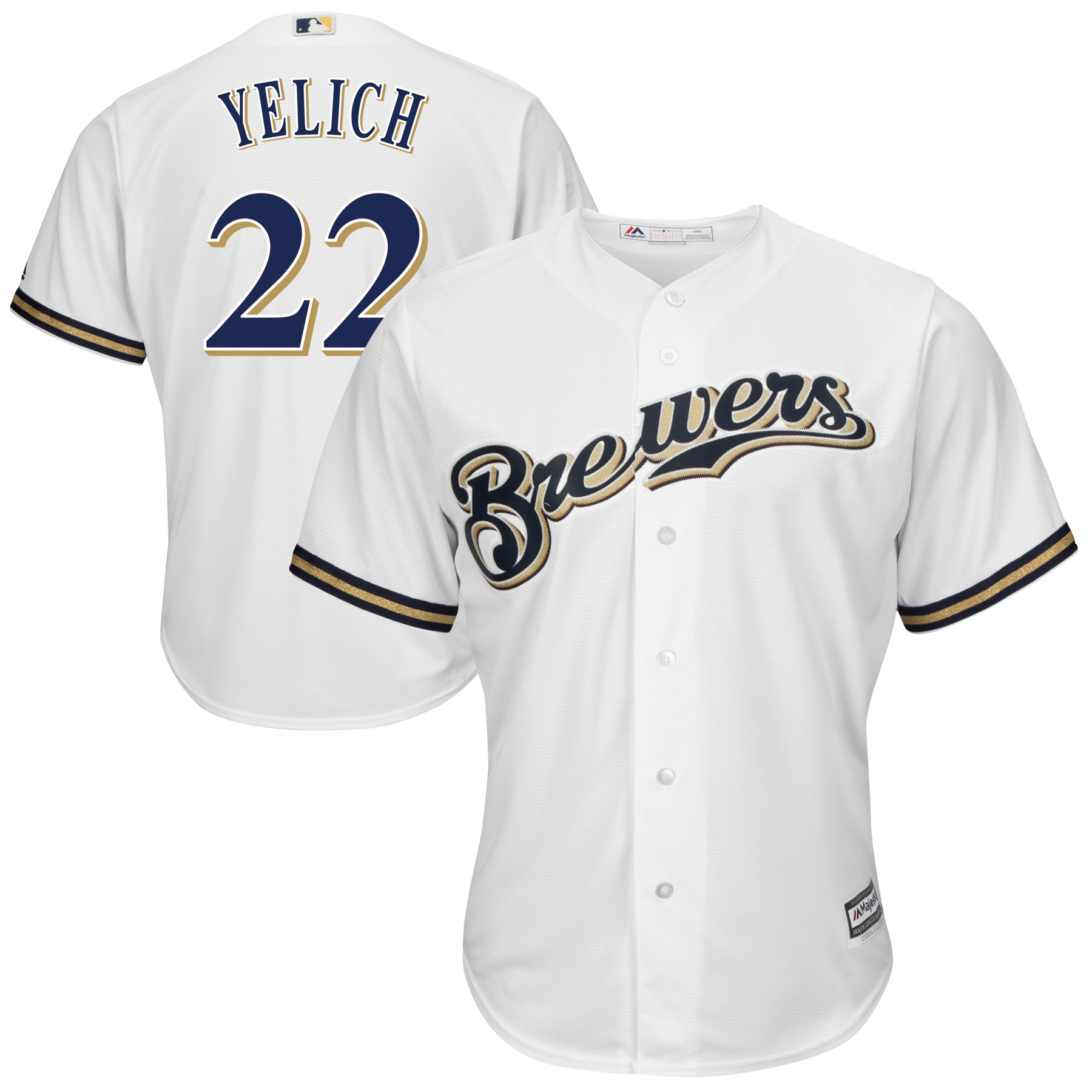 Christian Yelich Milwaukee Brewers Majestic Official Cool Base Player Jersey - White