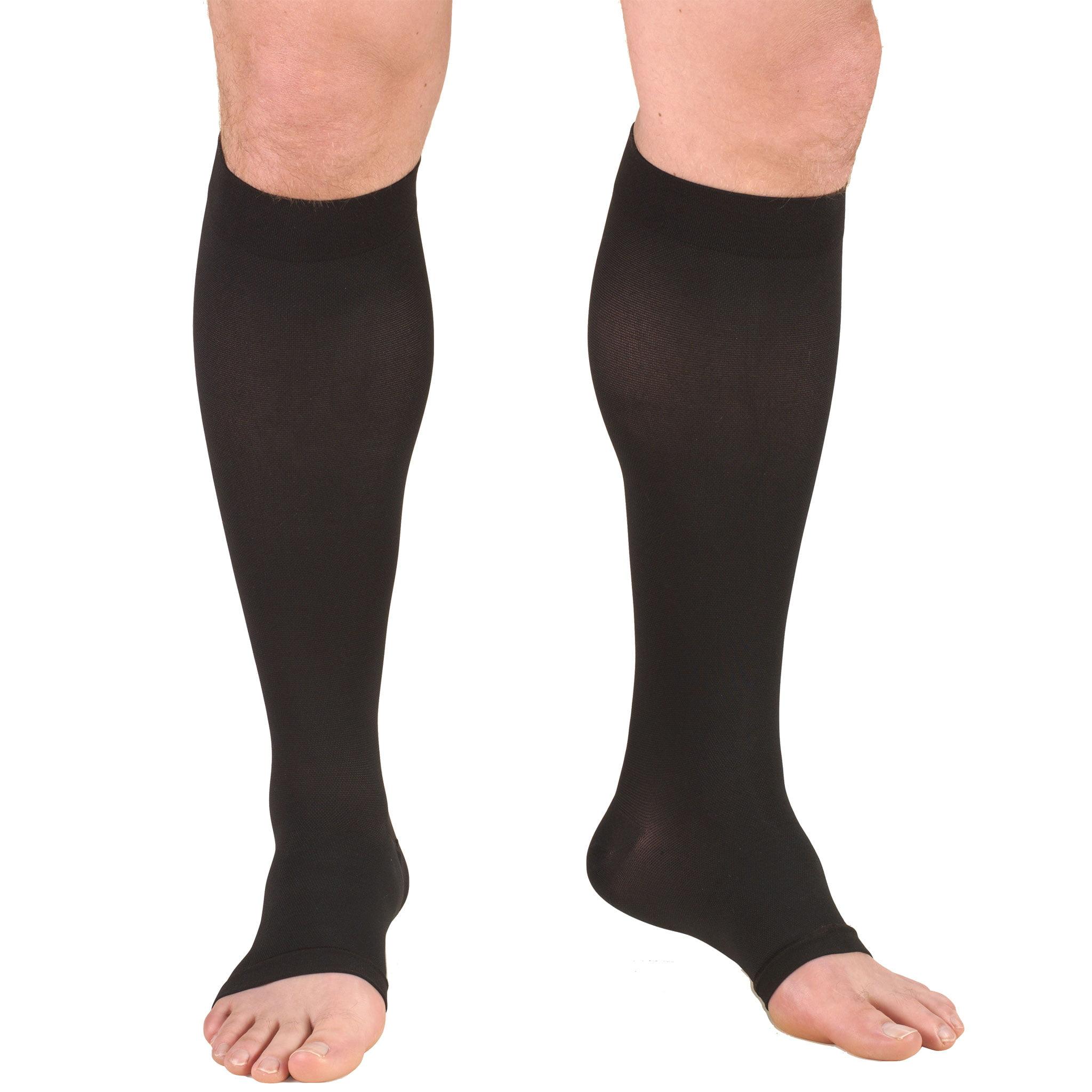 Truform Stockings, Knee High, Open Toe: 20-30 mmHg, Black, Large