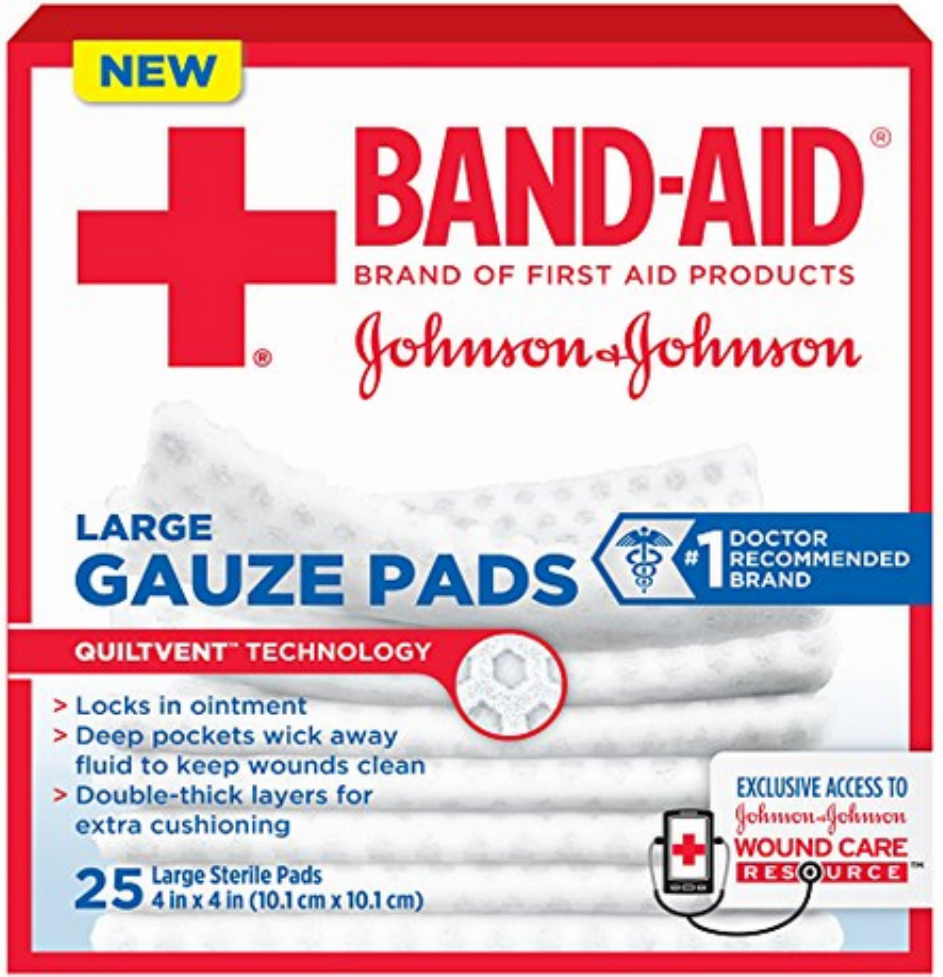 JOHNSON & JOHNSON Band-Aid First Aid Gauze Pads 4 Inches X 4 Inches 25 Each (Pack of 3)