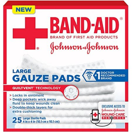 JOHNSON & JOHNSON Band-Aid First Aid Gauze Pads 4 Inches X 4 Inches 25 (Johnson & Johnson Non Stick)