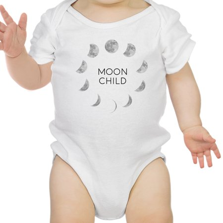 Moon Child White Baby Bodysuit Cute Graphic Baby Bodysuit Baby Gifts - White Wolf Onesie