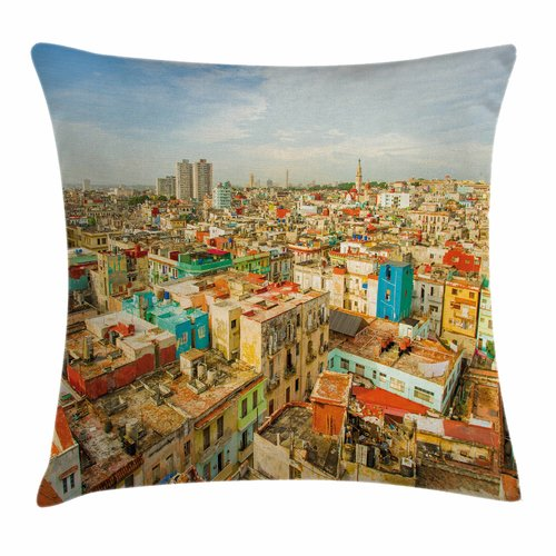 Click here to buy Ambesonne Travel Decor Havana City Houses Square Pillow Cover by Kozmos.
