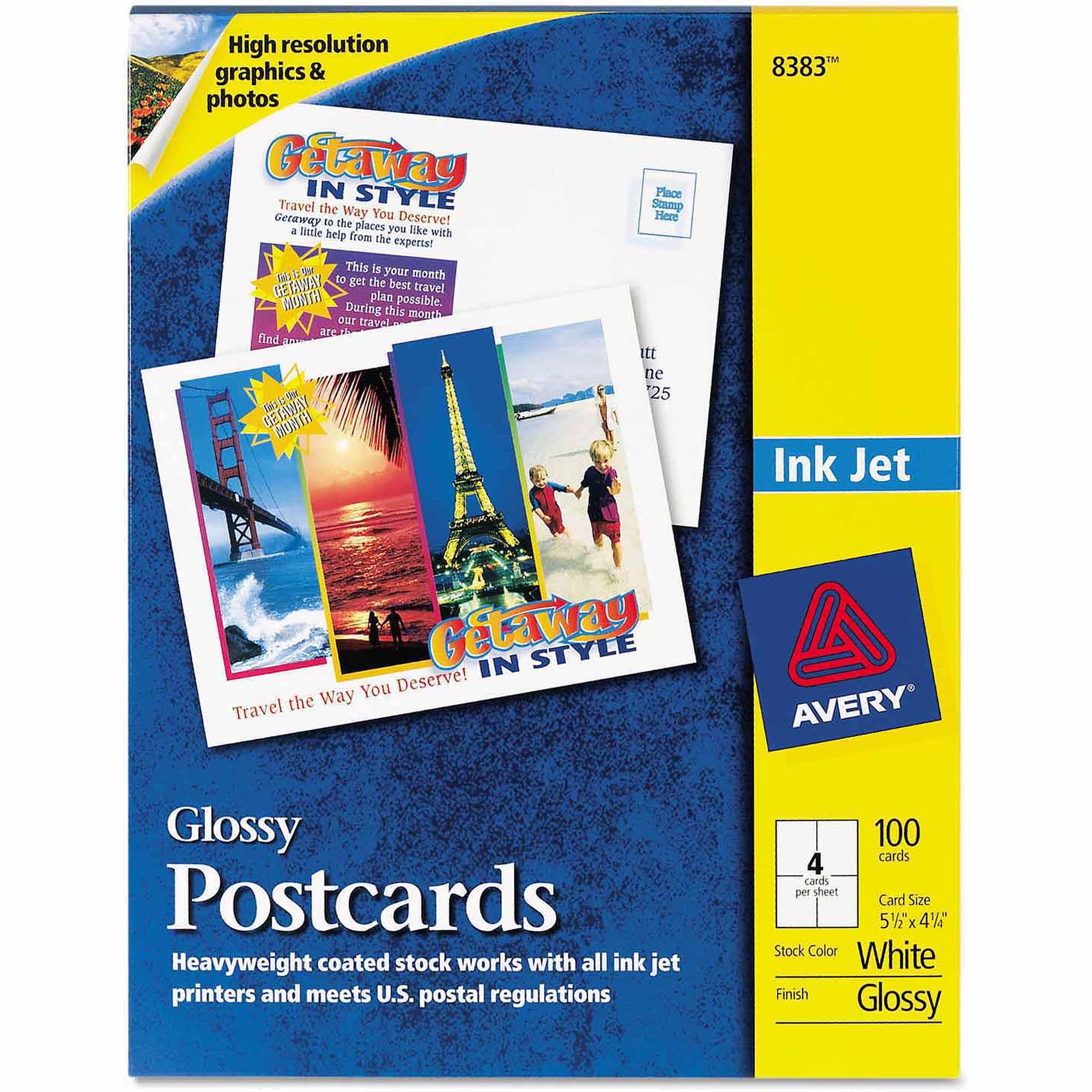 Avery Photo-Quality Glossy Postcards for Inkjet Printers, 4-1/4 x 5-1/2, White, 100/Pk