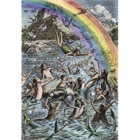 Barrie Peter Pan 1911  Nthe Mermaids Playing In The Lagoon Drawing By Francis D Bedford For The 1911 Edition Of JM BarrieS Peter Pan Rolled Canvas Art -  (24 x