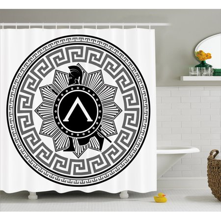 b7863506f7fa Toga Party Shower Curtain, Label with Greek Pattern Spartan Figures  Silhouette Retro Icon Design, Fabric Bathroom Set with Hooks, Grey Black  White, by ...