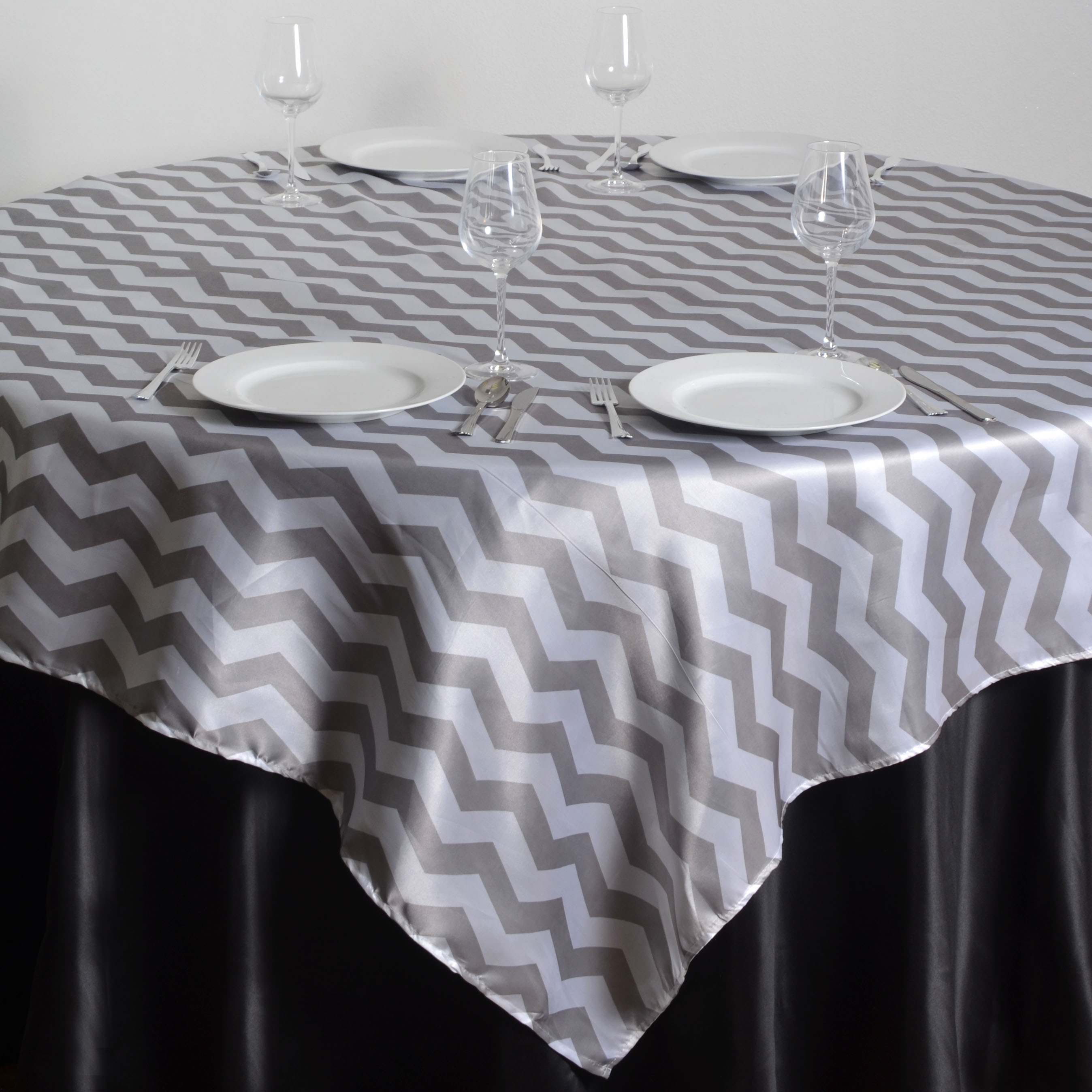 "Click here to buy BalsaCircle 72"" Square Chevron Satin Table Overlays Designer Wedding Linens."