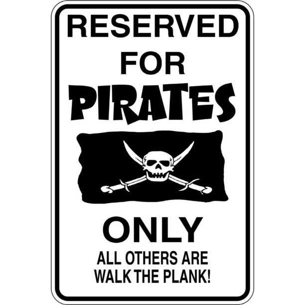 "Custom Wall Decal Reserved For Pirates 9""X18"" - Boys Bed Room - Picture Art - Peel & Stick Vinyl Wall Decal Sticker"