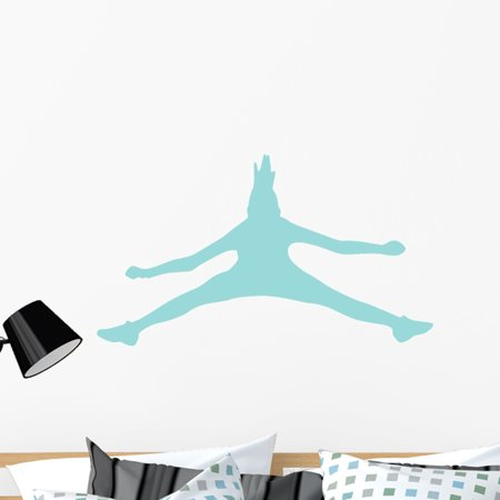 Cheer Silhouette Light Blue Wall Decal by Wallmonkeys Peel and Stick G