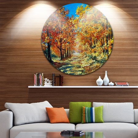 Bright Day in Autumn Forest' Landscape Glossy Large Disk Metal Wall - Forest Metal Wall
