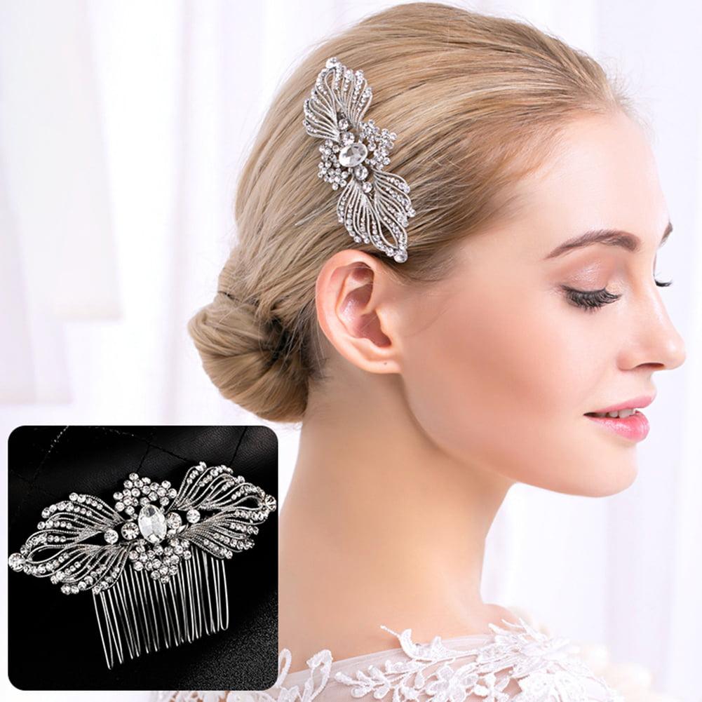 HiCoup Fashion Bridal Sparkling Rhinestones Hair Comb Hairpin Clip Wedding Jewelry