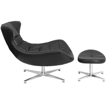 Flash Furniture Leather Cocoon Chair and Ottoman in Black - image 3 de 4