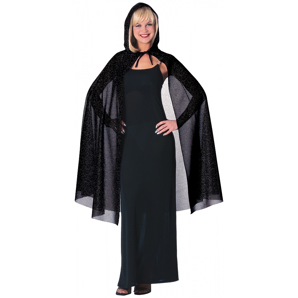 Hooded Glitter Cape Adult Costume Accessory Purple