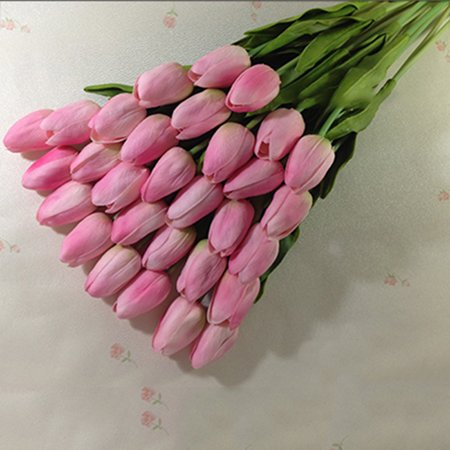 10pcs/set PU Mini Artificial Tulip Fake Flower Real Touch Wedding Flower Bouquet for Home Party