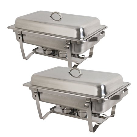 Zeny 2-Pack Full Size 8 Qt. Stainless Steel Chafing Dishes with Durable Frames