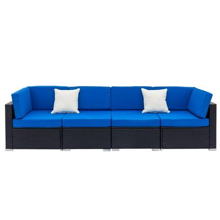 Ktaxon Outdoor Black Rattan Pool Garden 4 Seater Sofa with Blue Cushions ()