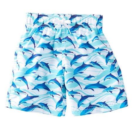 Azul Baby Boys Blue White Dolphin Printed Drawstring Tie Swim Shorts 12M