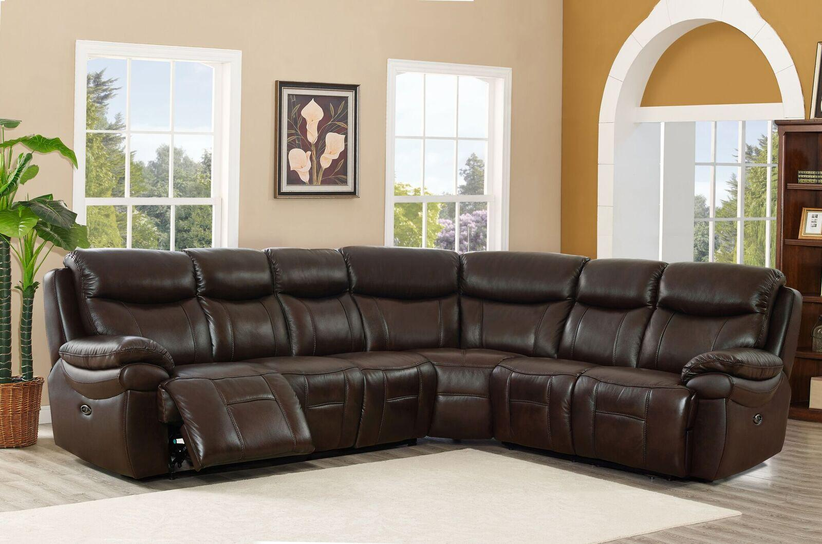 Top Grain Leather Power Reclining Sectional Sofa Hydeline Fraser Amax  Leather