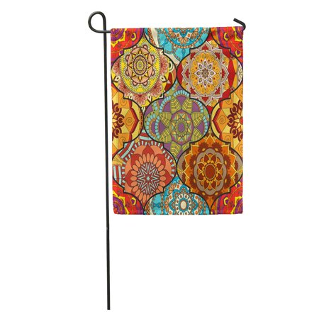LADDKE Colorful Tiles Boho Mandala Abstract Flower Floral Furniture Hippie Romantic from Weave Garden Flag Decorative Flag House Banner 28x40 inch ()