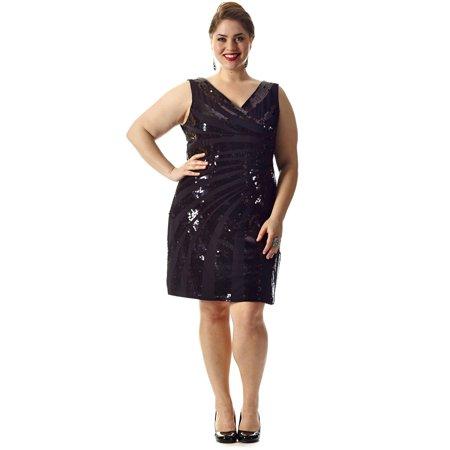 Sydney\'s Closet Razzle Dazzle Plus Size Sequin Party Dress