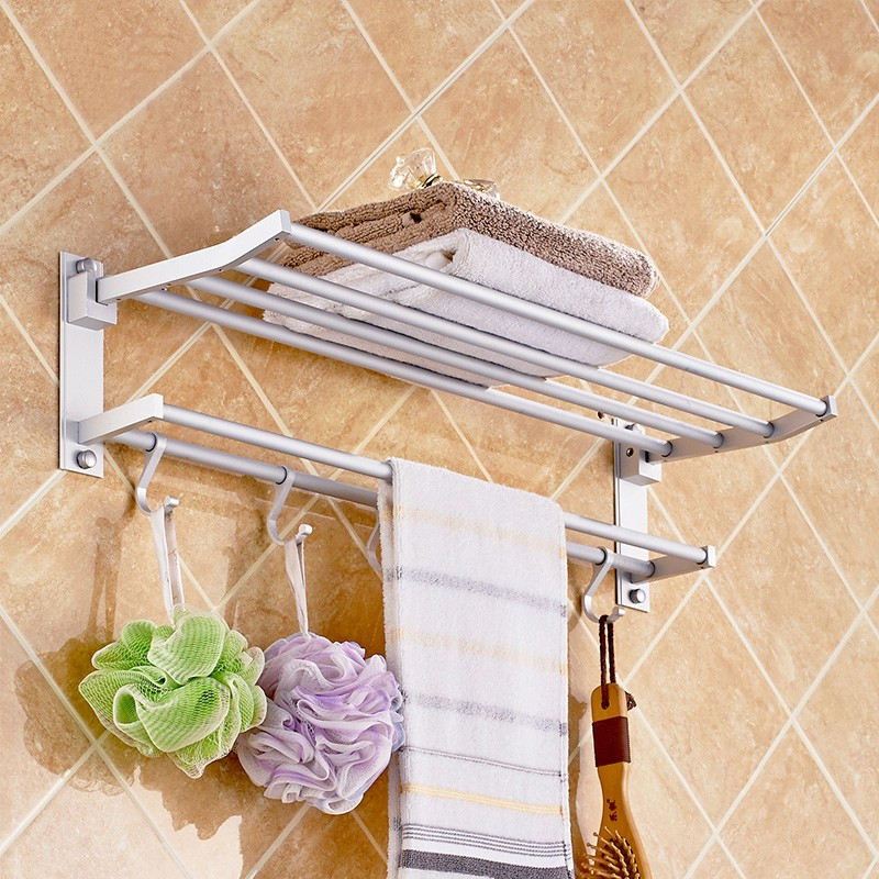 Alumimum Towel Bar Wall Mounted Rack Holder +5 Hook Hanger Bathroom Shelf Storage by