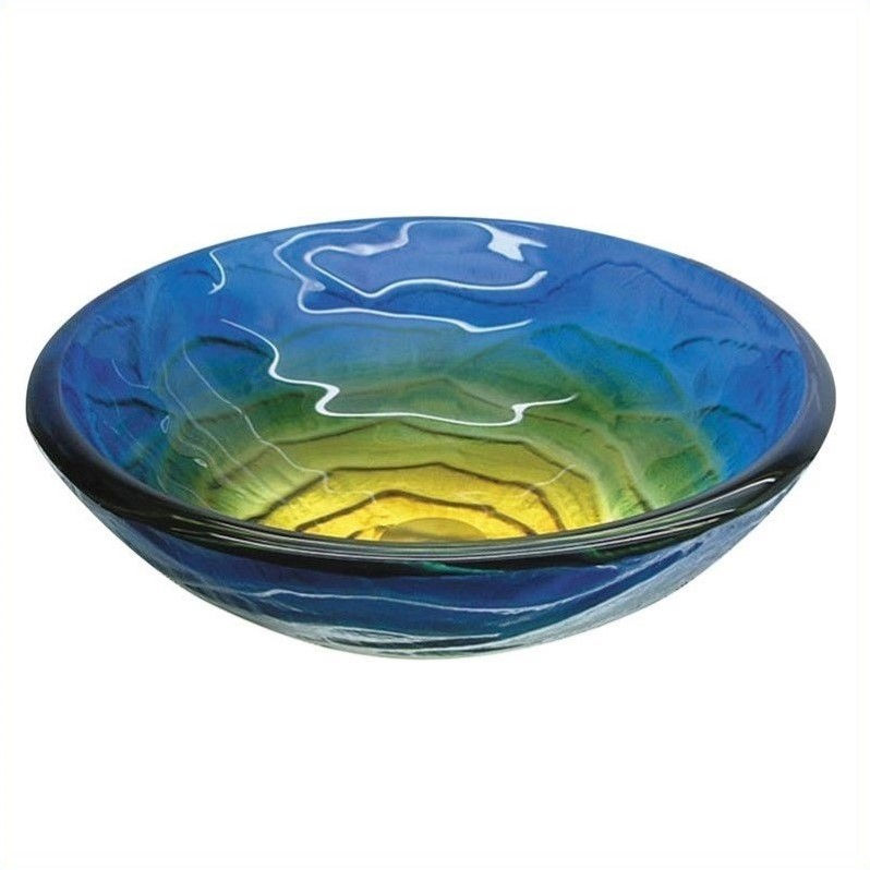 Yosemite Home Decor Chloe Round Vessel Sink - Retro Blues