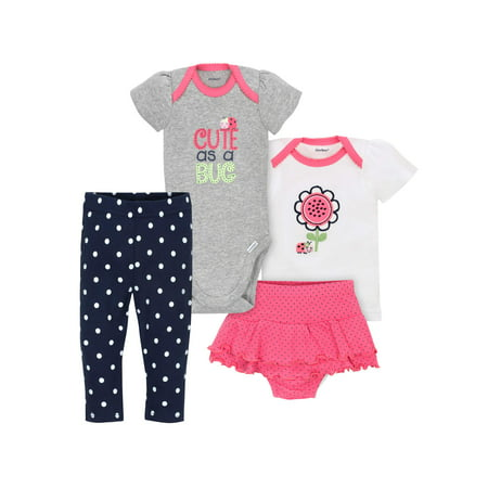 Newborn Baby Girl Bodysuit, Shirt, Skirted Panty & Pants, 4pc Set