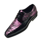 Bolano Mens Metallic Swirl Printed Formal Oxford Tuxedo Dress Shoe, Comfortable Lace-up Design