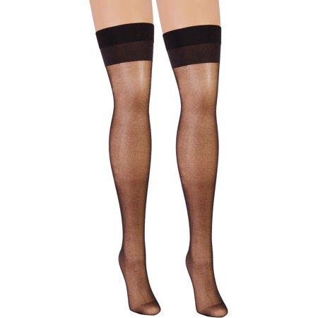 bba46a666b6 SummitFashions - Sheer Thigh Hi Stocking Backseam Rhinestones Black Red or  White - Walmart.com