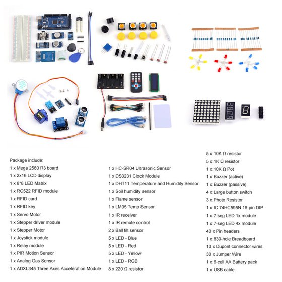 DIY Mega 2560 Starter Kit for Arduino1602LCD RFID Relay