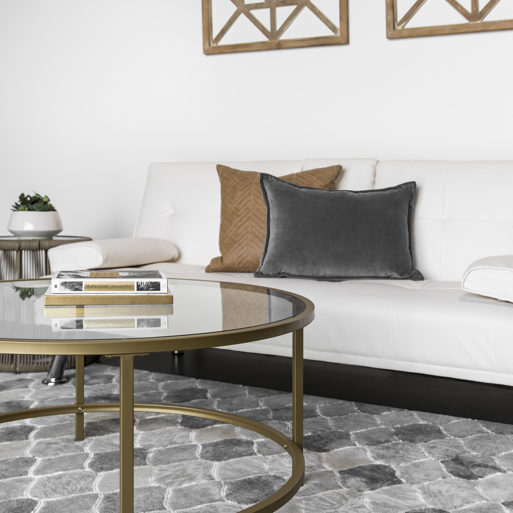 Best Choice Products Round 36in Tempered Glass Coffee Table w/ Satin Gold  Trim for Home, Living Room, Dining Room