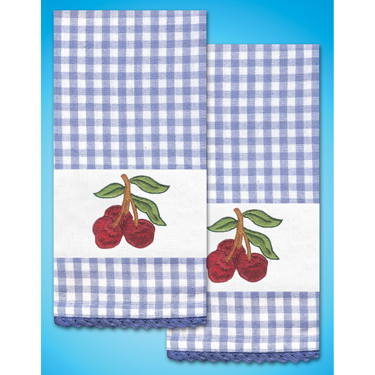 "Tobin Stamped For Embroidery Kitchen Towels 16""X28"" 2/Pkg-Cherry - image 1 of 1"