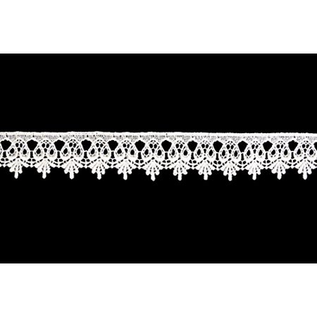 Altotux 1.75 inches White and Ivory Venise Lace Trim Scalloped Edge by 2 Yards (White) - image 1 of 1