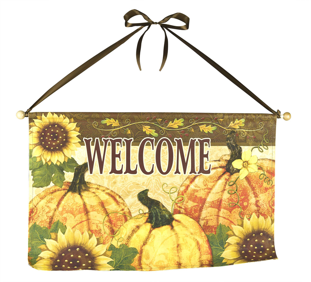 Welcome Greeting Flag w/ Rod - Autumn Thanksgiving Garden Flag