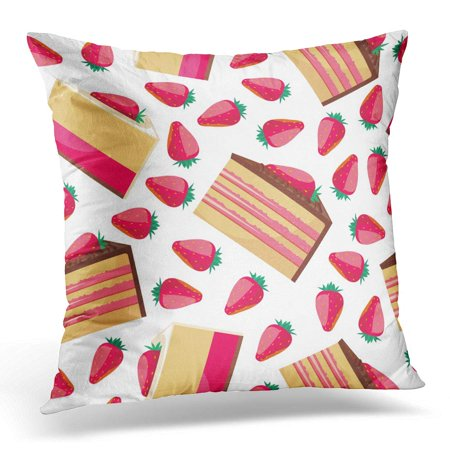 ECCOT Brown Baby Pattern Delicious Strawberry Cupcake Pink Whipped Cream Desserts Fresh Bakery Design Pillowcase Pillow Cover Cushion Case 18x18 inch