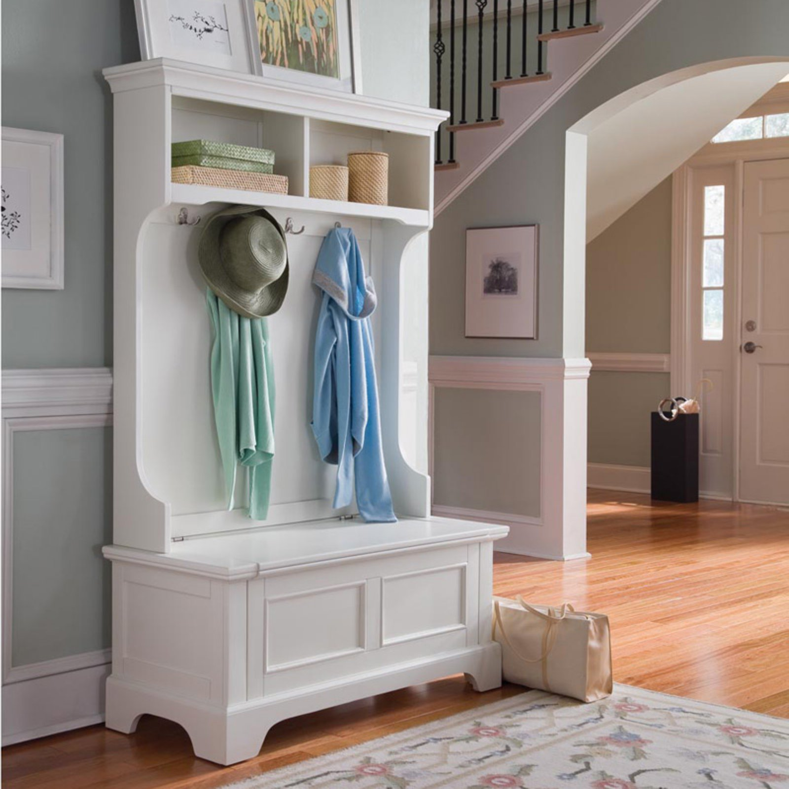 Charmant Product Image Home Styles Naples White Hall Tree With Storage Bench