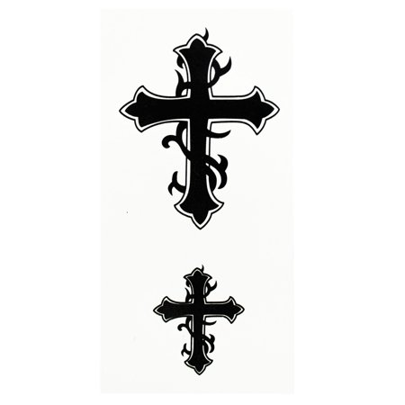 Humble Cross Pair Temporary Tribal Tattoos
