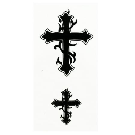 Humble Cross Pair Temporary Tribal Tattoos](Nail Cross Tattoos)