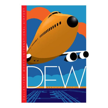 Jetage Aviation Art JA045 14 x 20 in. Dfw Airport Dallas & fort Worth Poster - image 1 of 1
