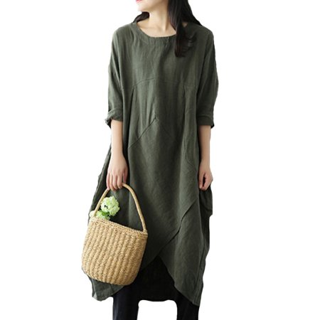 d3c1676f228 Viugreum - Women Casual Maxi Dress Loose Boho Long Dress Layered Vintage Loose  Dress Long Sleeve Linen Dress Plus Size - Walmart.com