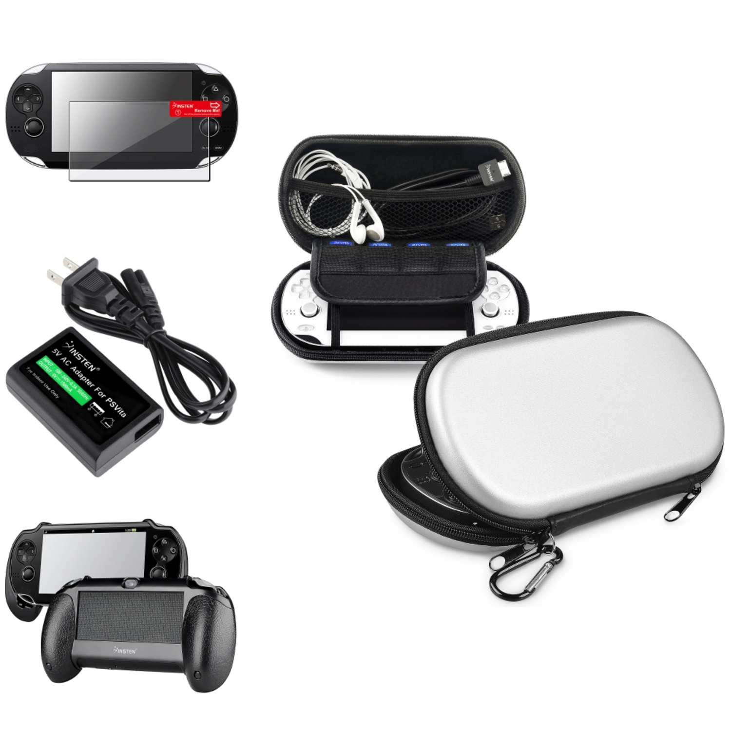 Insten Silver EVA Case + Gaming Hand Grip + Screen Guard + AC Charger Adapter For Sony PS Vita PSV