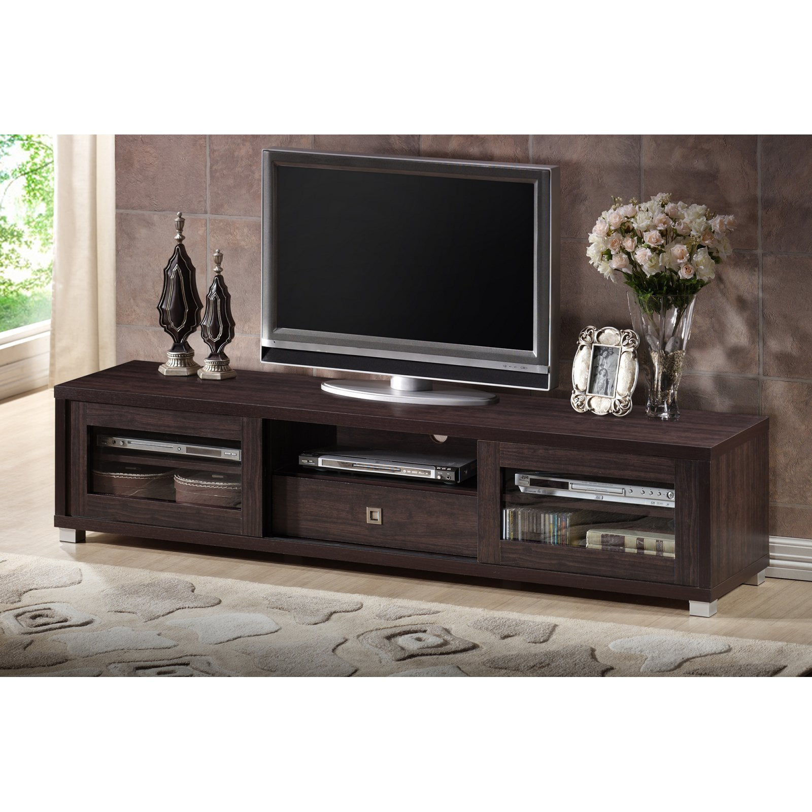 Baxton Studio Beasley 70 Inch Dark Brown Tv Cabinet With 2 Sliding