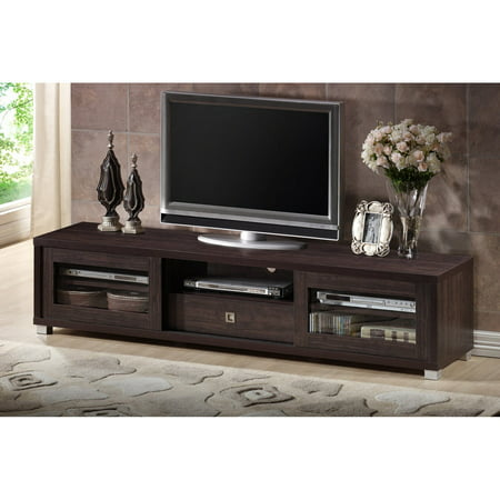 Baxton Studio Beasley 70 Inch Dark Brown Tv Cabinet With 2 Sliding Doors And Drawer