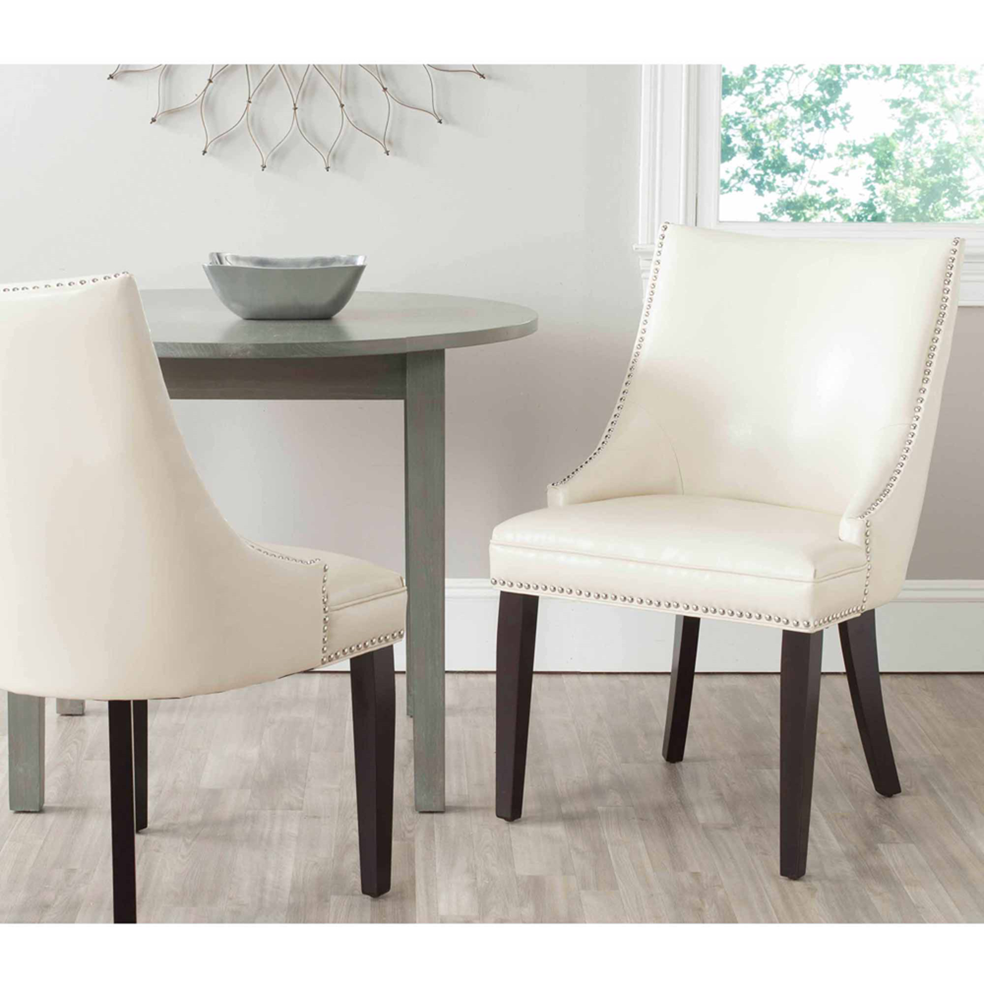 Safavieh Afton Bicast Leather Side Chair with Silver Nail Heads, Set of 2 by Safavieh
